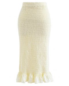 Frill Hem Full Shirring Pencil Skirt in Cream