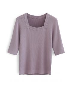 Mid-Length Sleeves Square Neck Knit Top in Purple