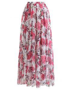 Romantic Moment Peony Print Maxi Skirt in White