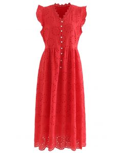 Allover Eyelet Embroidery Buttoned Sleeveless Dress in Red
