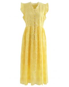 Allover Eyelet Embroidery Buttoned Sleeveless Dress in Yellow