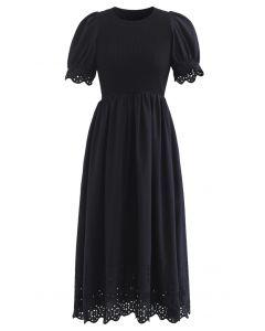Embroidered Eyelet Short-Sleeve Knit Dress in Black