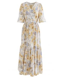 Retro Rose Wrapped Ruffle Maxi Dress in Cream