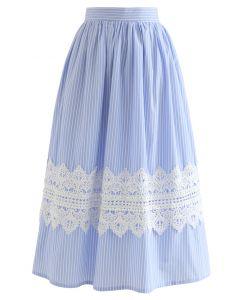Crochet Decorated Striped Midi Skirt