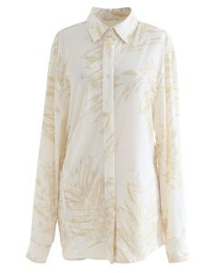 Dainty Floral Print Longline Shirt in Yellow