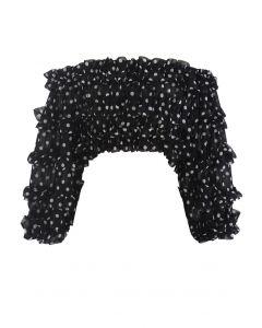 Polka Dots Off-Shoulder Ruffled Crop Top in Black