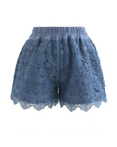 Scallop Crochet Overlay Shorts in Blue