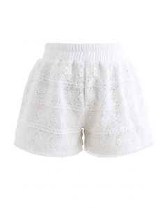 Sunflower Crochet Overlay Shorts in White