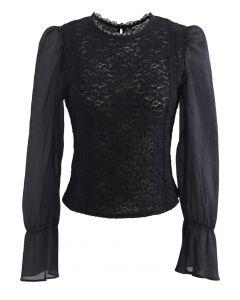 Blooming Sheer Sleeve Lace Top in Black