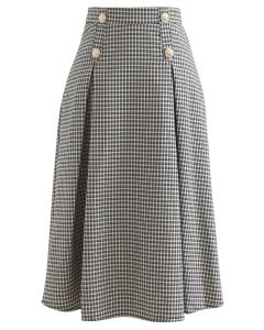 Button Decorated Pleated Gingham Skirt in Black
