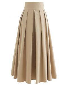 Full Pleated Cotton Midi Skirt in Light Tan