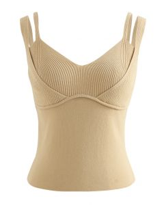 Fake Two-Piece Fitted Knit Tank Top in Light Tan