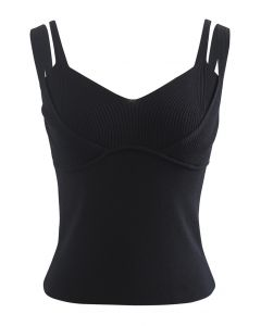 Fake Two-Piece Fitted Knit Tank Top in Black