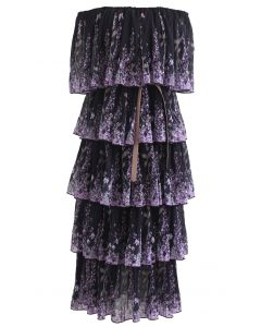 Lavender Printed Pleated Off-Shoulder Tiered Dress in Black