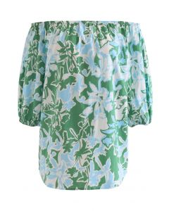 Summer Floral Print Off-Shoulder Top in Green