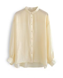 Collarless Lightweight Button Down Shirt in Apricot