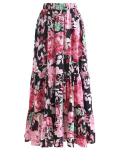 Blooming Peony Watercolor Frill Hem Maxi Skirt in Black