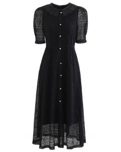 Doll Collar Full Lace Midi Dress in Black