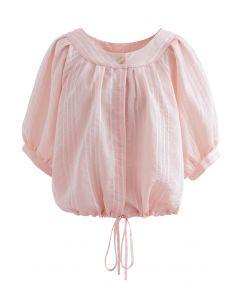Striped Button Down Crop Shirt in Pink