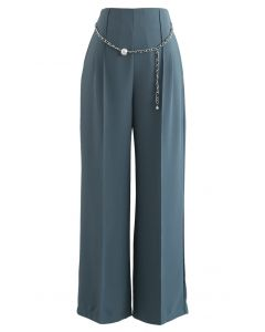 Pearly Chain Seamed Pants in Teal