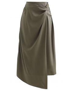 Twist Flap Asymmetric Satin Midi Skirt in Olive