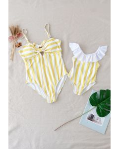 Stripe Printed Bowknot Back Swimsuit for Mommy & Kids