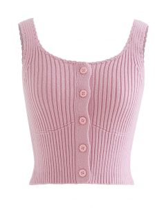 Ribbed Knit Buttoned Crop Tank Top in Pink