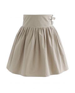 Dual Belt Trim Pleated Mini Skirt in Sand