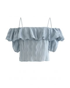 Ripple Pleated Cold-Shoulder Crop Top in Dusty Blue