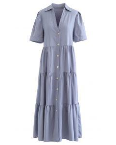 Collar V-neck Button Down Midi Dress in Blue