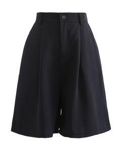 High Waist Pleated Bermuda Shorts in Black