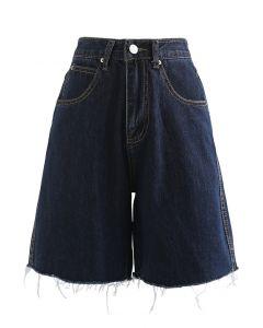 Raw Hem Relaxed Denim Shorts in Navy