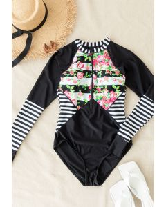 Floral Printed Zip Front Long Sleeve Surf Suit
