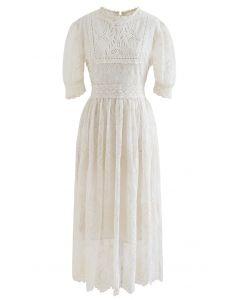 Short Sleeve Embroidered Mesh Midi Dress