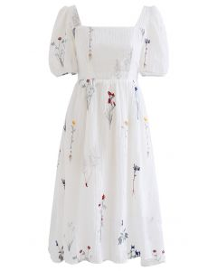 Bouquet Embroidered Tie Back Square Neck Dress