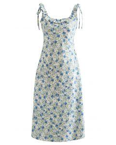 Tropical Fruit Ruffle Neck Cami Dress in Blue