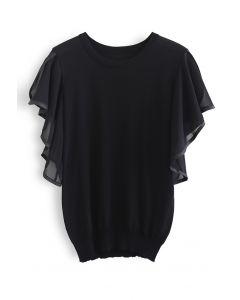 Sheer Ruffle Slit Sleeves Knit Top in Black