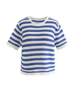Contrasted Stripe Embossed Knit Top in Blue