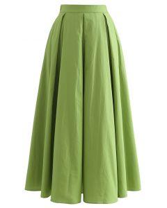 Box Pleated High Waist A-Line Midi Skirt in Green