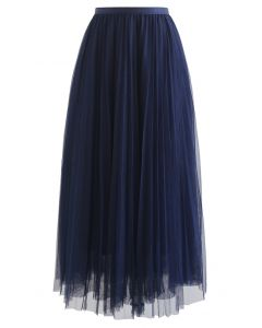 Call out Your Name Pleated Mesh Skirt in Navy