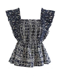 Floret Print Ruffle Embroidered Sleeveless Top in Navy