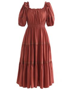Ruffled Neck Crochet Detail Midi Dress in Rust Red