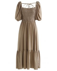 Square Neck Puff Sleeve Shirred Dress in Brown