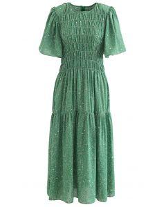 Flare Sleeve Padded Shoulder Printed Midi Dress in Green