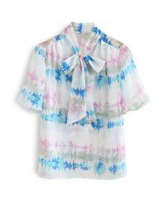 Abstract Print Flock Dots Bowknot Semi-Sheer Shirt in Pink