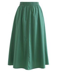 Solid Color Side Pocket Cotton Skirt in Dark Green