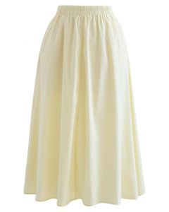 Solid Color Side Pocket Cotton Skirt in Light Yellow