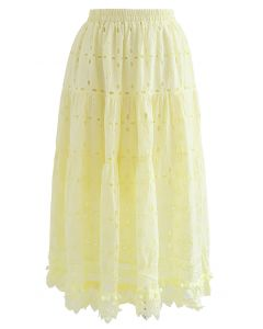 Pom-Pom Hem Embroidered Cotton Midi Skirt in Yellow