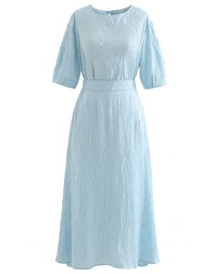 Full of Pleat Short Sleeve Top and Flare Skirt Set in Blue