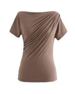 Ruched Front T-Shirt in Tan